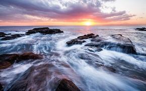Picture sea, the sky, the sun, clouds, sunset, stones, shore, the evening, Japan, horizon, surf, Kanagawa, ...