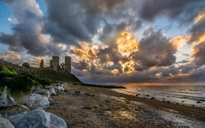 Picture sea, the sky, clouds, stones, England, slope, the ruins