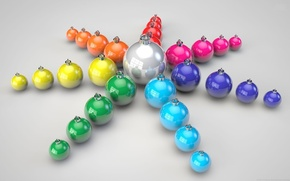 Picture balls, rays, holiday, toys, star, color, new year