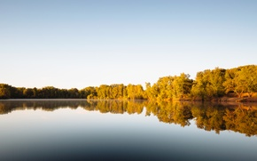 Picture sky, trees, lake, reflection, mirror