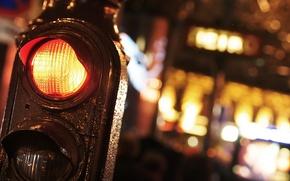 Picture macro, night, the city, traffic light