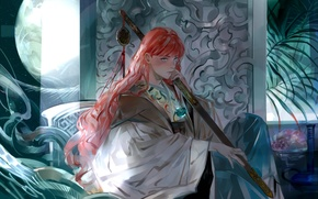 Wallpaper girl, the moon, plant, a month, art, Anime, fruit, red hair, Anime, Queen, 12 kingdoms, ...