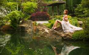 Picture nature, pose, pond, Park, reflection, mood, model, Elizabeth Hassell