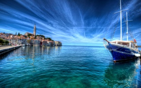 Picture sea, the sky, coast, HDR, home, yacht, horizon, Croatia, Rovin
