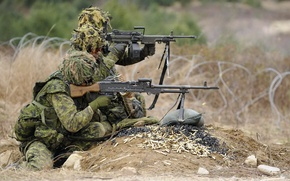 Picture Soldiers, Canadian Army, C6 and C9 machine guns