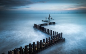 Picture sea, the sky, clouds, stones, shore, England, support, UK, Norfolk