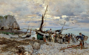 Wallpaper picture, Giovanni Boldini, Étretat, The Return Of Fishing Boats, shore, people, sea, rocks, seascape