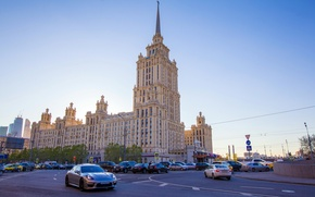 Picture road, street, Moscow, cars, Moscow, Radisson royal hotel