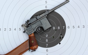 Picture metal, gun, pistol, wood, bullet, performance, target, holes., aim, red nine, target gun, Mauser C-96