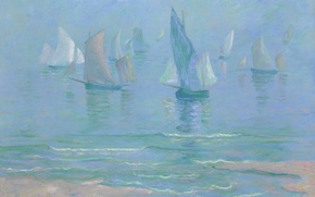 Picture sea, shore, boat, ship, picture, sail, seascape, Theodore Earl Butler, Sailboats at Dieppe