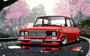 Picture Road, Figure, Red, Sakura, Style, ART, Japan, Red, Car, Car, Sakura, ART, Style, Wallpapers, 2106, …