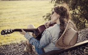 Wallpaper girl, music, guitar