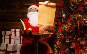 Picture letter, paper, table, room, pen, holiday, candle, gifts, tree, Santa Claus, Santa Claus, bundle