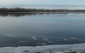 Picture ice, water, river, island, spring