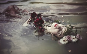 Picture water, girl, flowers