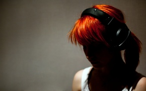 Wallpaper red, girl, headphones, rude, Hayley Williams