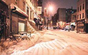 Picture light, night, New York, winter, snow
