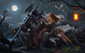 Picture girl, night, fantasy, the moon, monster, art, flashlight
