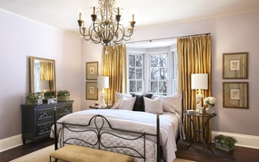 Picture room, bed, interior, mirror, window, chandelier, curtains, mansion, bedroom