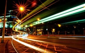 Picture night, movement, excerpt, Amsterdam, Netherlands, night, Amsterdam, traffic, Netherlands, exposure