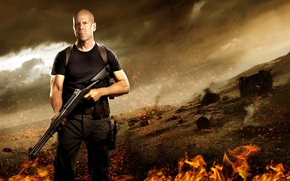 Picture cinema, fire, flame, gun, pistol, Bruce Willis, weapon, man, movie, shotgun, film, strong, spark, GI …