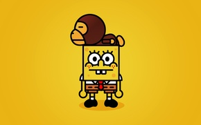 Wallpaper yellow, spongebob, bape, SpongeBob