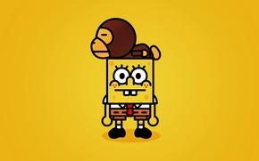 Wallpaper bape, SpongeBob, yellow, spongebob