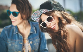 Picture girls, laughter, glasses, cap