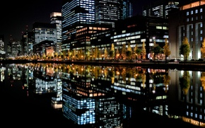 Picture night, the city, lights, reflection, Japan