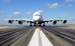 Wallpaper widebody, double deck, Airbus A380, passenger, four-engined, jet, strip, the sky, the plane, the airfield