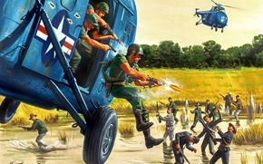 Picture helicopters, soldiers, battle, landing, Морт Artist