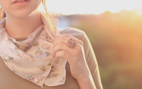 Picture girl, the sun, flowers, background, mood, clothing, rose, color, hand, teeth, mouth, scarf, brunette, ring, ...