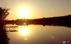 Picture lake, circles, the sun, trees, landscape, sunset