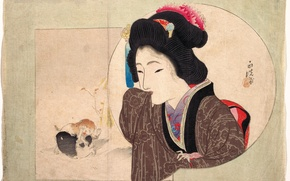 Wallpaper Keisai Iron, kittens, girl, kimono, Japan