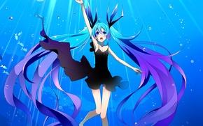 Picture girl, fish, bubbles, art, vocaloid, hatsune miku, under water, Vocaloid, temari, shinkai shoujo, deae
