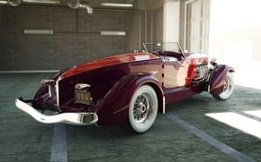 Picture retro, garage, convertible, bumper
