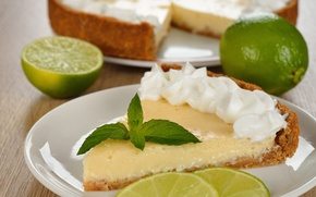 Picture mint, cakes, key lime pie, lime slices
