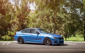 Picture BMW, wheels, Vorsteiner, blue, 328i, f30, frontside