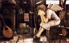 Picture room, wings, angel, sitting, halo, haibane renmei