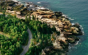 Picture road, sea, rocks, shore, USA, Acadia national Park, Maine