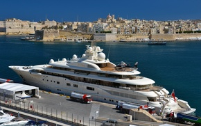 Picture the city, dressing, yacht, port, helicopter, white, architecture, yacht, mega, Malta, Malta, Valletta, Dilbar, Valletta.