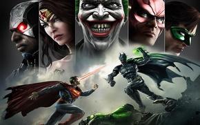 Picture smile, batman, superman, joker, green lantern, flash, Wonder women, Injustice: Gods Among Us