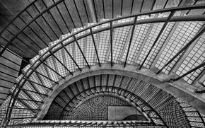 Wallpaper black and white, steps, ladder