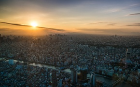 Picture sunset, the city, river, dawn, view, Tokyo, Tokyo