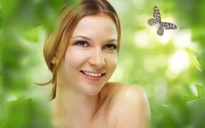 Picture greens, look, girl, joy, smile, butterfly, foliage, positive, bokeh, brown-eyed