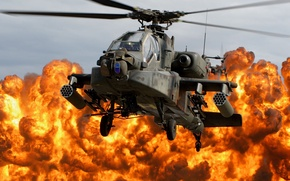 Wallpaper cabin, Apache, AH-64D, Napalm, the explosion, helicopter, blades, fire