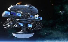 Picture space, stars, planet, ships, station