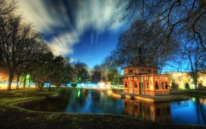 Picture the sky, clouds, trees, pond, Park, house