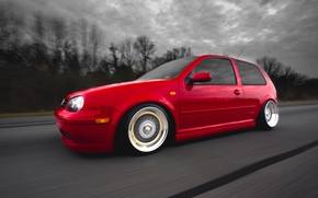 Picture red, tuning, speed, volkswagen, red, Golf, golf, Volkswagen, stance, MK4, in motion