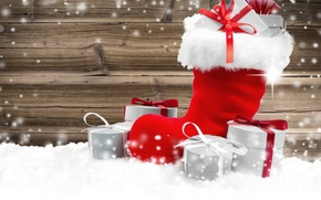 Picture winter, snow, Christmas, gifts, New year, Christmas, winter, snow, New Year, Holiday, gifts, boots